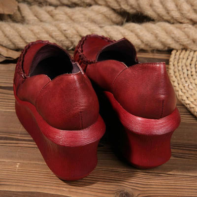 Leather Solid Color Pleated Patchwork Hollow Slip-On High Heel Loafers