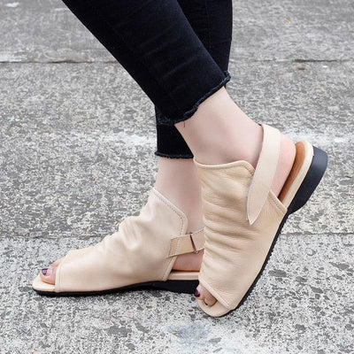 Leather Hollow Peep Toe Velcro Flat Heel Ankle Strap Sandals