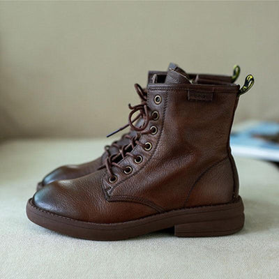 2019 new retro style art soft leather temperament wild fashion rub color Martin boots 02