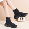 Black stretch socks shoes female 2019 winter new thick bottom wild non-slip plus velvet booties