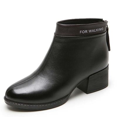 2019 autumn and winter new leather wild thick with Martin boots