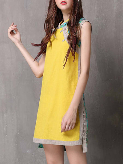 Ethic Color Block Asymmetric Split Stand Collar Linen & Cotton Dresses
