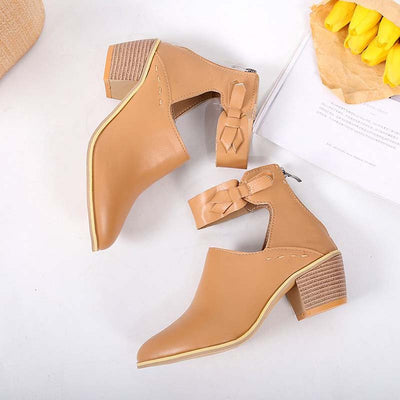Thick heel pointed toe back zipper England foot ring buckle shoes comfortable Europe and large size women's shoes