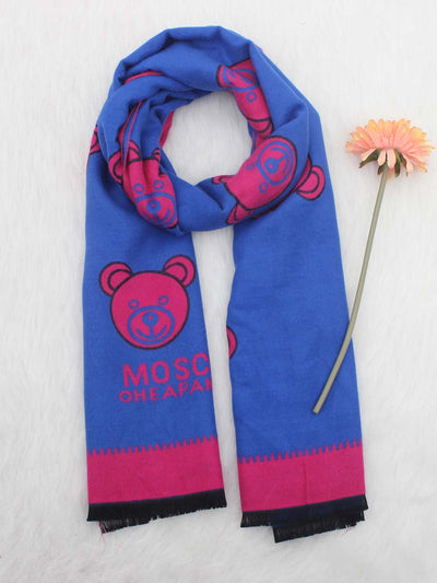 2019 autumn and winter new ladies double-sided imitation cashmere scarf cute bear shawl