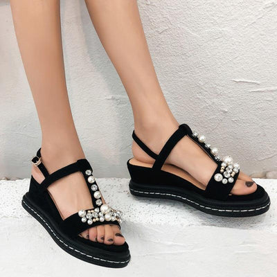 Cultured Pearl Rhinestones Hollow T-Strap Open Toe Platform Sandals