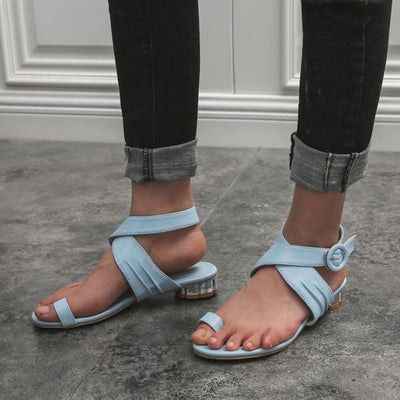 Fashion Solid Color Cross Straps Buckle Flat Heel Sandals