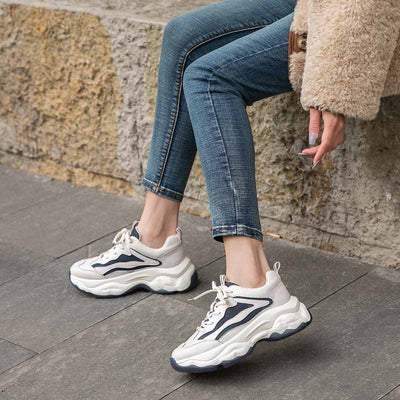 2020 spring new thick-bottomed round head heightened muffin sole fashion wild leather ladies sneakers