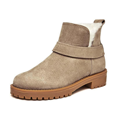 New autumn and winter leather thick with wool warm snow boots