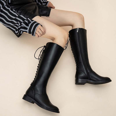 Autumn and winter new thick heel side zipper long boots military uniform locomotive rider boots women