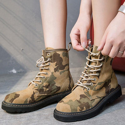 Camouflage Chunky Heel Lace-Up Suede Ankle Boots