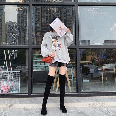Autumn and winter new round head thick heel elastic over the knee high boots
