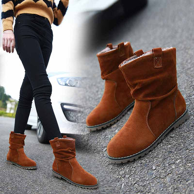 Round head pleated flat Martin boots large size women's shoes
