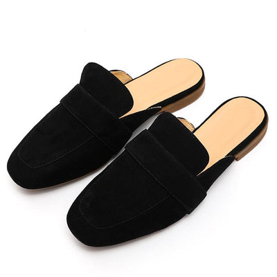 Leather Solid Color Square Toe Patchwork Hollow Flat Heel Loafers