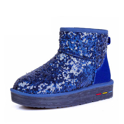 Snow boots women's 2019 explosion models short tube sequins casual warm cotton shoes