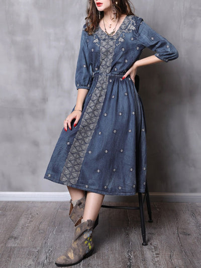 Butterfly Embroidery V-Neck Half Sleeve A-Line Cotton Denim Dresses