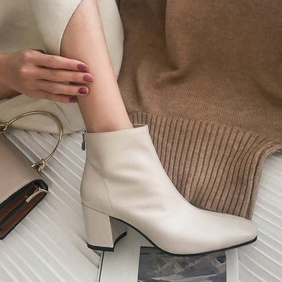 2019 autumn and winter new square head leather back zipper high heel bright leather temperament female short boots