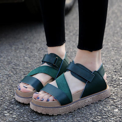 Casual Solid Color Platform Heel Velcro PU Sandals