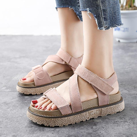 Casual Patchwork Hollow Velcro Platform Open Toe Suede Sandals