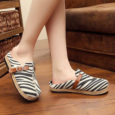 Comfortable breathable belt buckle work seam zebra canvas shoes