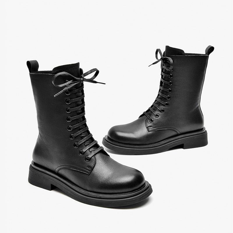 Women's Spring and Autumn thick-soled Martin boots inner heightening short boots motorcycle boots