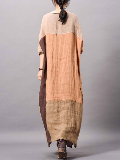 Color Block Asymmetric Round Neck Long Sleeve Linen & Cotton Dresses