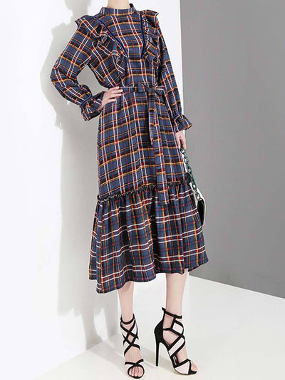 British Ruffle Long Sleeve Plaid Belt Patchwork Day Dresses