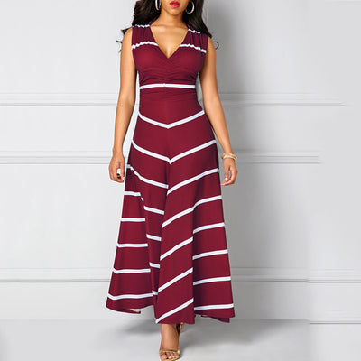 Europe and America V-neck High Waist Striped Slim Sleeveless Dress