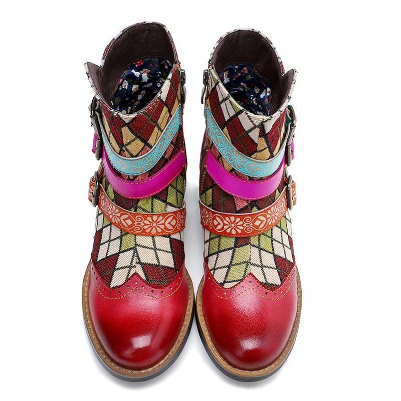 New casual leather vintage classic printed belt ladies high-end short boots women boots