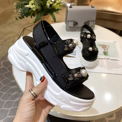 Round head Velcro casual platform with sandals