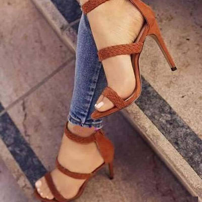 Ethic Hand-Made Stiletto Heel Open Toe Hollow Back Zipper Sandals