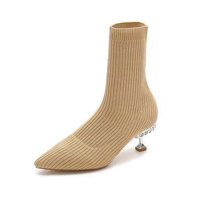 New pointed stretch slimming knitted booties