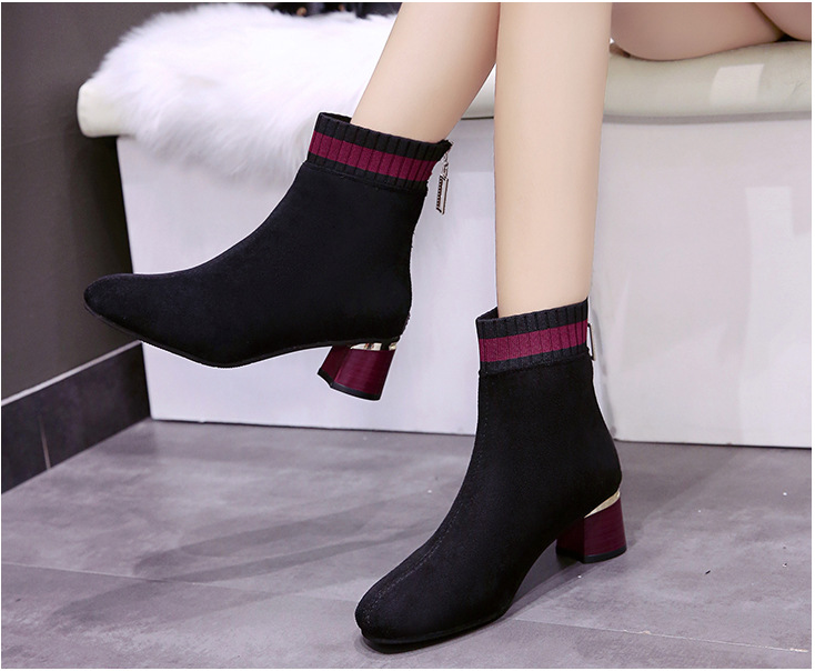 Women's suede square toe chunky heel fashion Chelsea boots for autumn