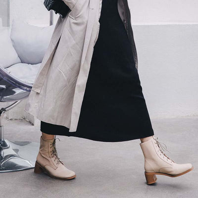 Retro square head strap leather high heel ankle boots