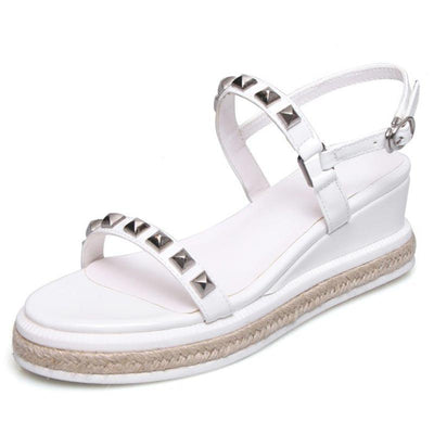 Casual Rivets Hollow Ankle Strap Open Toe Platform Sandals