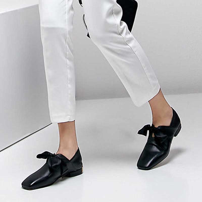 Sweet cute bow shallow mouth low heel full leather large size women's shoes