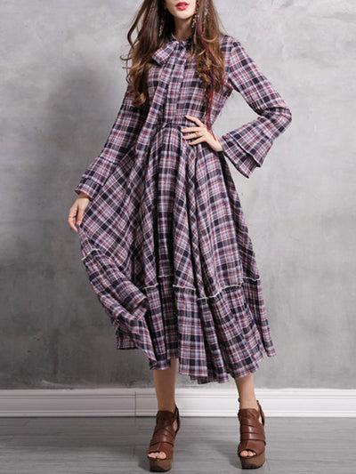 Bowknot Plaid Long Sleeve A-Line Pleated Ruffle Linen & Cotton Dresses