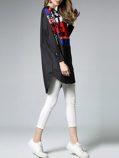 Geometric Stripes Patchwork Color Block Round Neck Long Sleeve Blouses