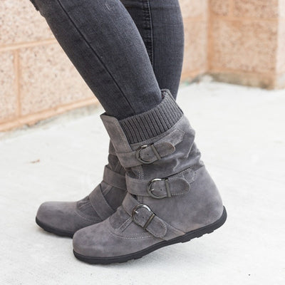 2019 winter new belt buckle flat bottom thick warm cotton boots