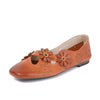 Vintage flower oil wax soft bottom small shoes