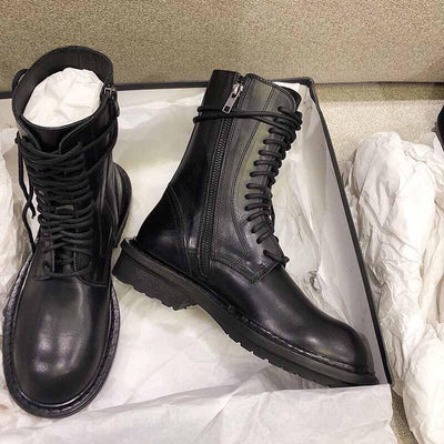 Vintage British wind tube boots black leather lace Martin boots women's boots 02