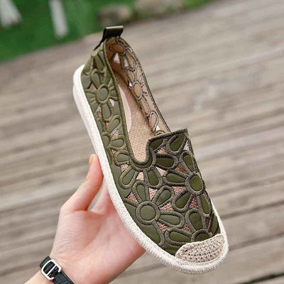 Linen straw fisherman shoes embroidered shoes
