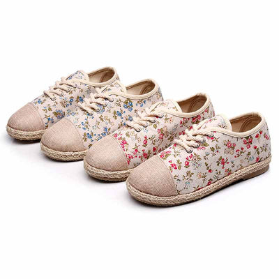 Student casual versatile flat bottom breathable floral woven shoes