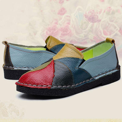 Casual Rainbow Pattern Flower Leather Slip-On Loafers
