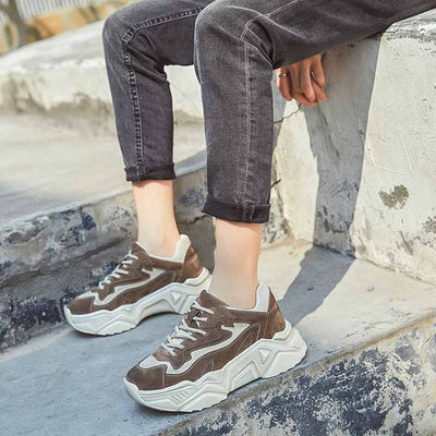 2020 spring new round head leather inner thick platform Korean wild color matching women's sneakers