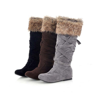 2019 autumn and winter matte hidden wedge heel anti-slip long tube snow boots