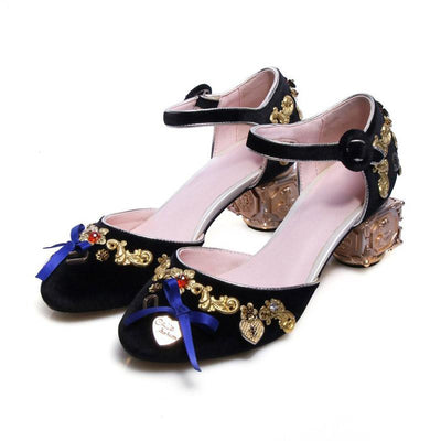 Fashion Bowknot Floral Dangle Inlay Round Toe Chunky Heel Pleuche Shoes