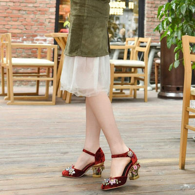 Vintage Floral Hollow Heel Lace-Up Back Pleuche Sandals