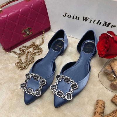 Rhinestone silk pointed square buckle hollow flat shoes