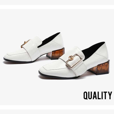 Autumn new leather thick heel casual shoes female retro British wind square head buckle increase women's shoes