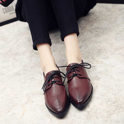 Lace-up retro school wind low heel shoes